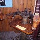 Photo:Treeing machine made by Mobbs and Lewis.  This helped to ensure the shoe would retain it's shape during wear.